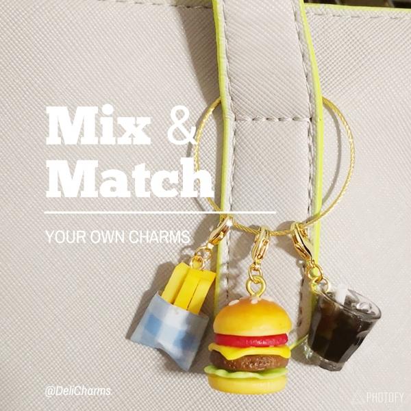 miniature food bag charm hamburger charm