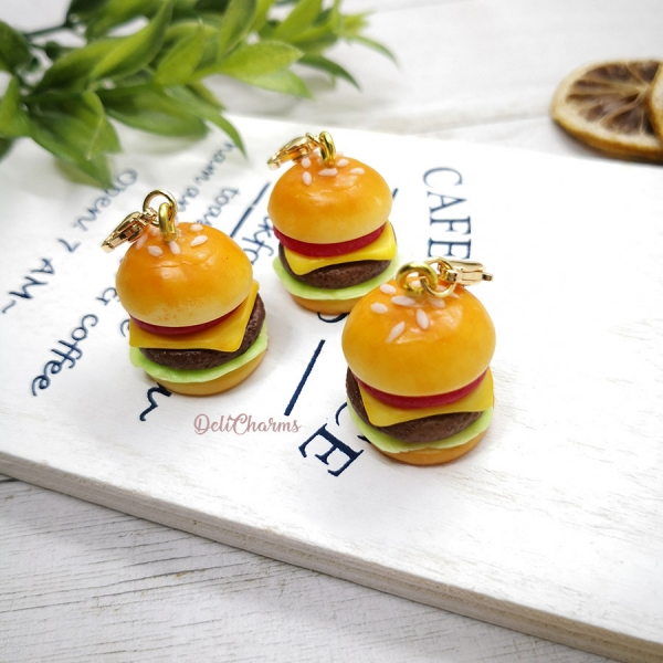 hamburger bag charm mcdonald cheeseburger miniature handmade charms