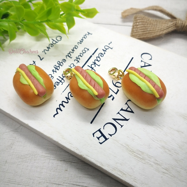 hot dog charm hotdog jewelry handmade charms