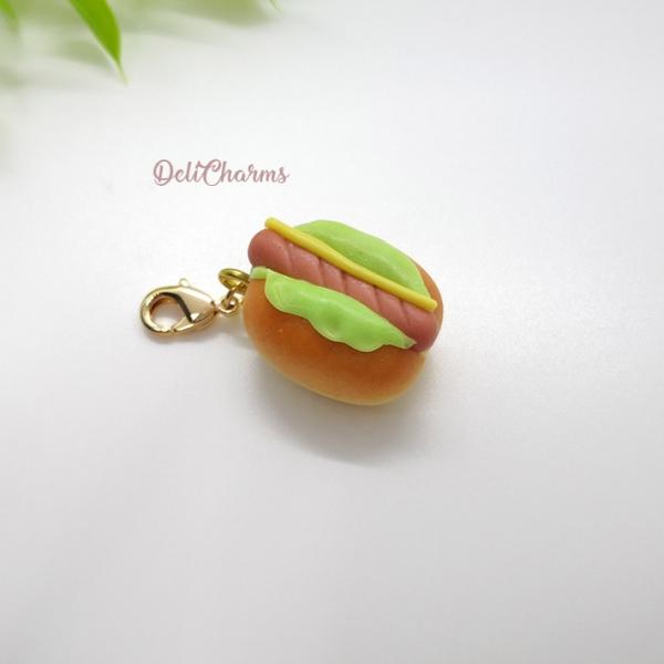 hotdog bun charm handmade hot dog bun