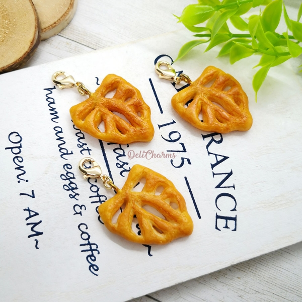 Fougasse bag charm miniature clay handmade charms