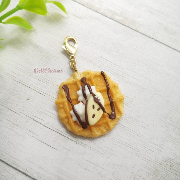 waffle charm delicharms handmade fake food