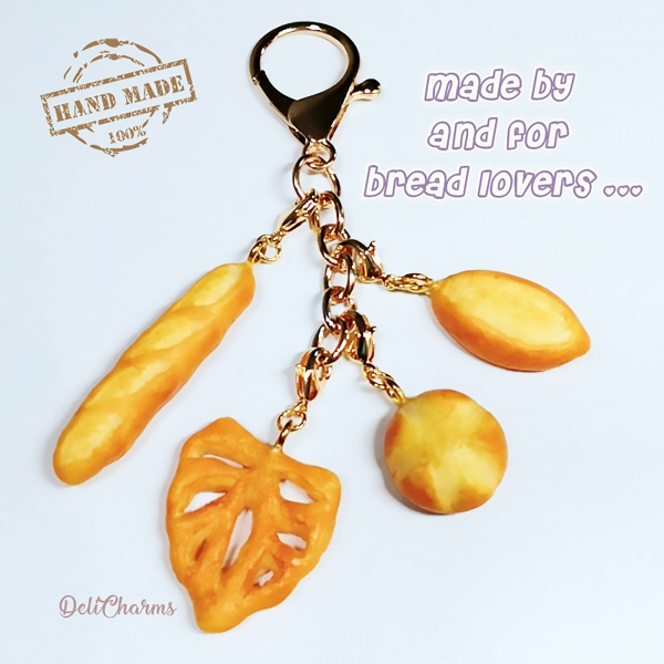bread charm keychain bag charm miniature bread delicharms