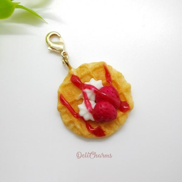 strawberry waffle charm miniature handmade waffle