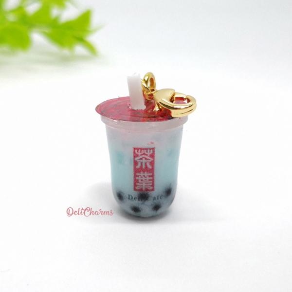 Blue coral bubble tea with pearl handmade bubble tea charm boba tea keychain delicharms