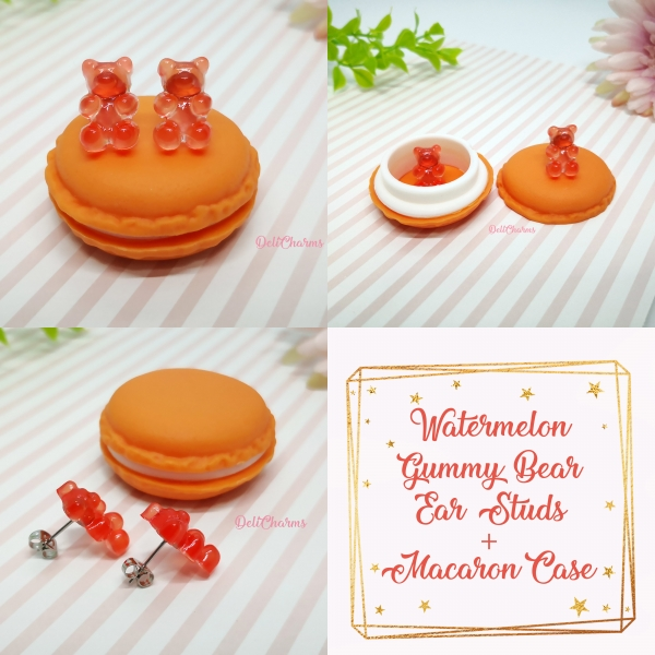 Gummy bear earrings cute miniature fake food jewelry watermelon earrings delicharms