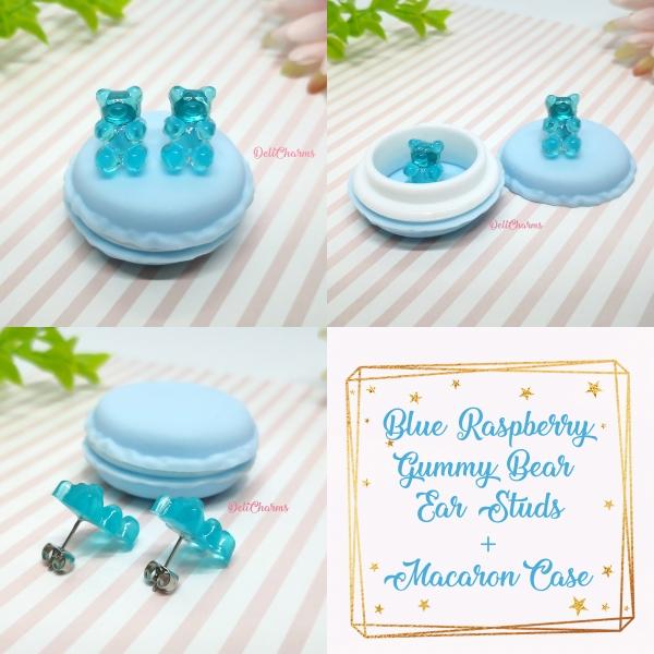 Gummy bear earrings fake food jewelry blueraspberry delicharms