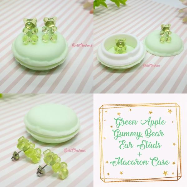 Gummy bear earrings fake food jewelry green apple delicharms