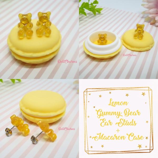 Gummy bear earrings miniature lemon kawaii fake food jewelry delicharms