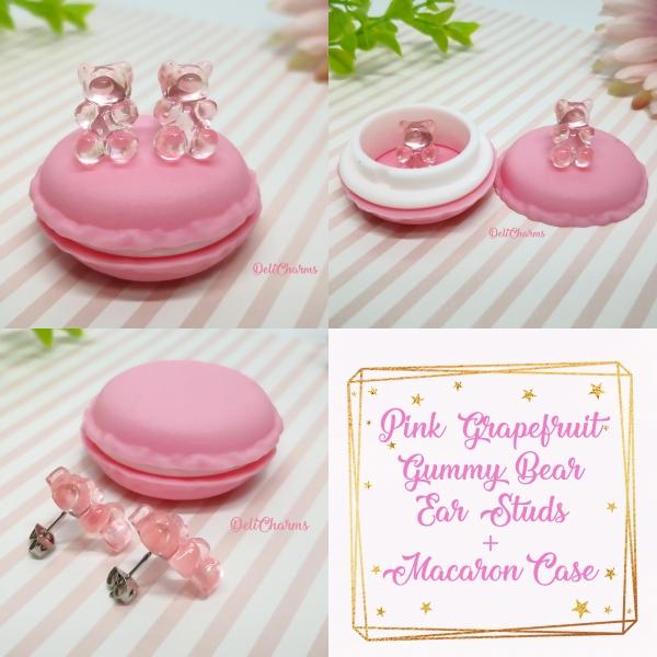 Gummy bear earrings pink grapefruit cute miniature fake food jewelry delicharms
