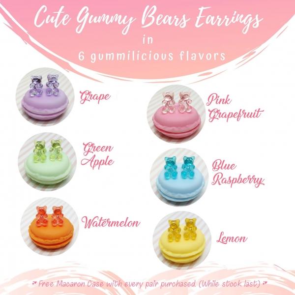 Gummy bears earrings miniature-gummy bears cute fake food wearable food jewelry delicharms