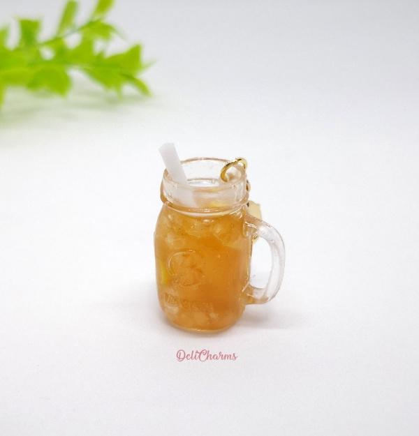 Miniature drink bag charm mason jar lemon tea charm delicharms