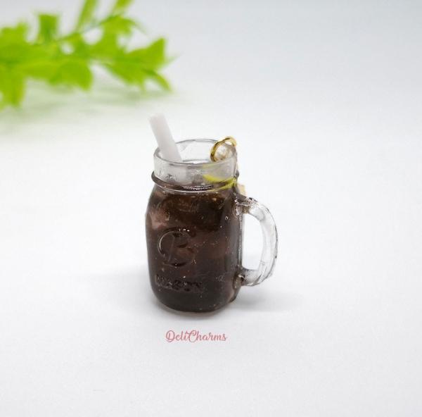 Miniature mason jar charm coke cola bag charm delicharms