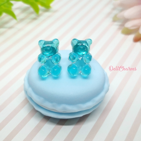 blue gummy bear jewelry handmade resin accessory delicharms