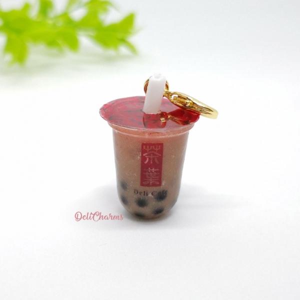 chocolate milk tea with pearl bubble tea bag charm