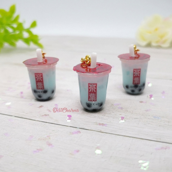 gong cha blue coral bubble tea charm boba tea keychain delicharms