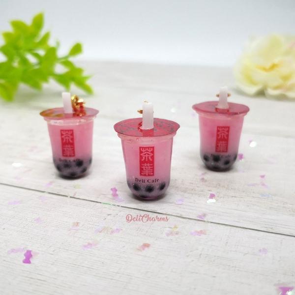 boba tea keychain strawberry bubble tea boba tea keychain charm
