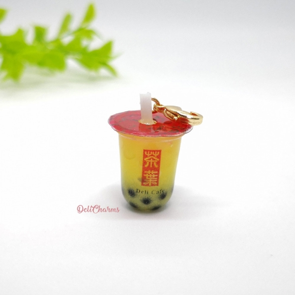 gong cha mango milk tea with pearl charm delicharms