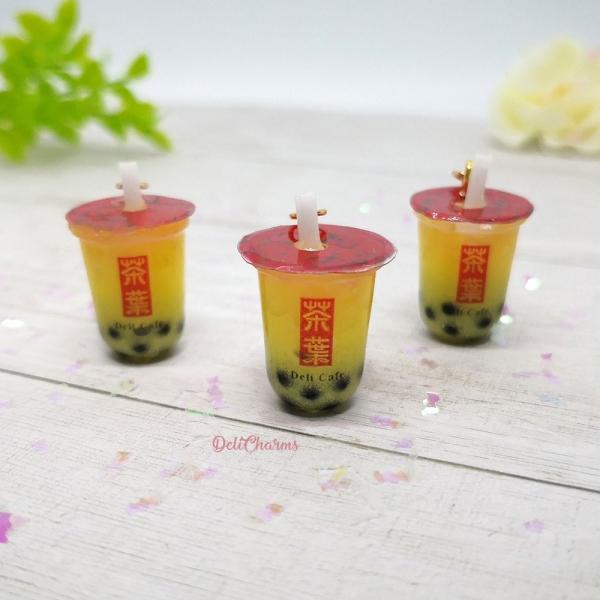 mango boba tea keychain bubble tea charm with pearl bag charm miniature boba tea charm dollhouse drink boba tea keychain delicharms