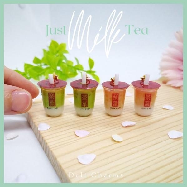 milk tea charm handmade miniature bubble tea bag charm uv resin handmade charms