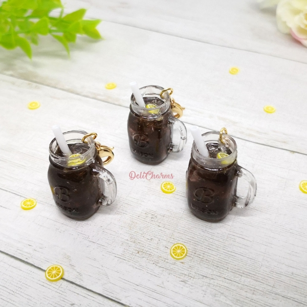 miniature mason jar coke bag charm cola charm delicharms handmade charms