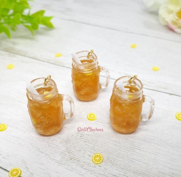 miniature mason jar drink lemon ice tea charm food charms delicharms
