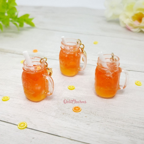 miniature mason jar journal charm orange marmalade drink charm delicharms