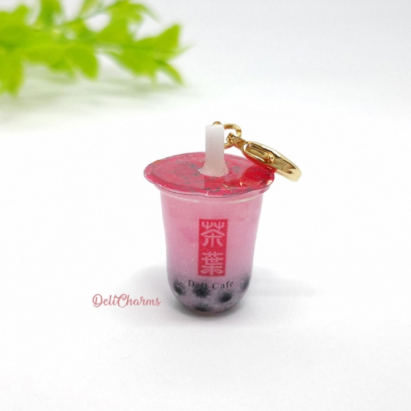 pink bubble tea bag charm strawberry milk tea with pearl