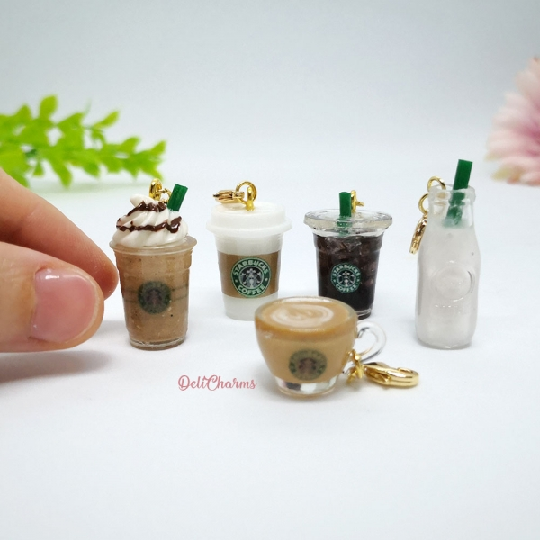 starbucks bag charm miniature coffee bag charms handmade food charm delicharms handmade charms