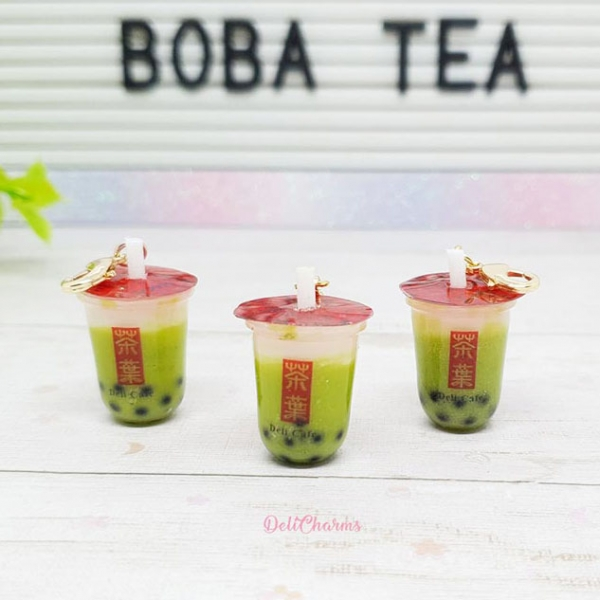 boba tea keychain green milk bubble tea handmade charms