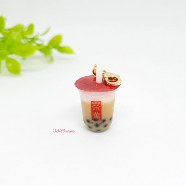 boba tea keychain pearl milk tea charm delicharms