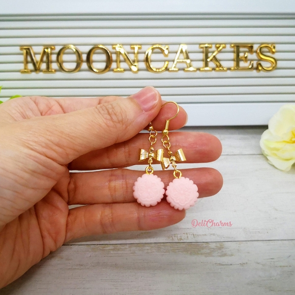 handmade lychee. mooncake earrings delicharms miniature clay jewelry