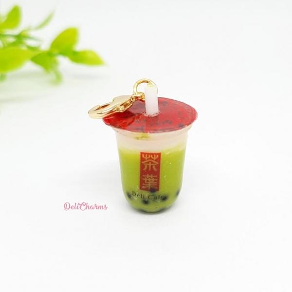 green tea boba tea keychain charm