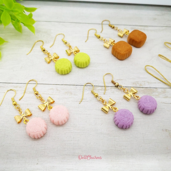 kawaii miniature food jewelry mooncake earrings cell phone straps