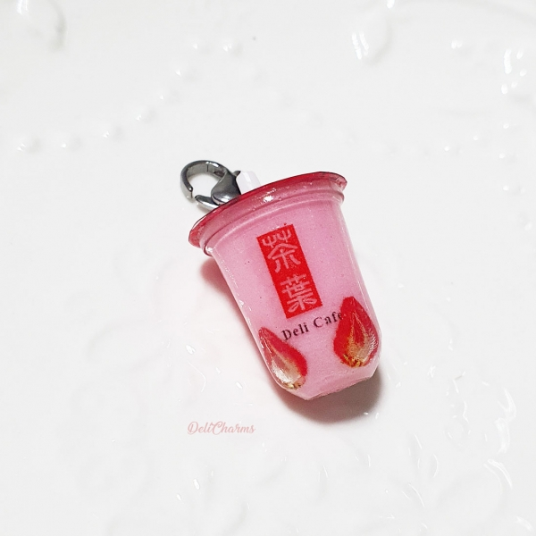 miniature strawberry bubble tea charm keychain delicharms