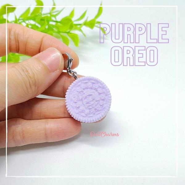Handmade charms purple taro cookie oreo necklace purple bag charm