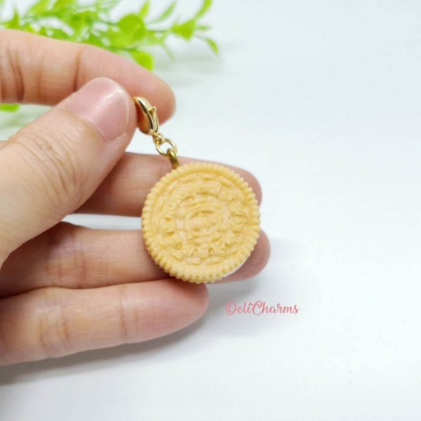 Oreo cookie charm handmade clay charms food charms wearable food delicharms