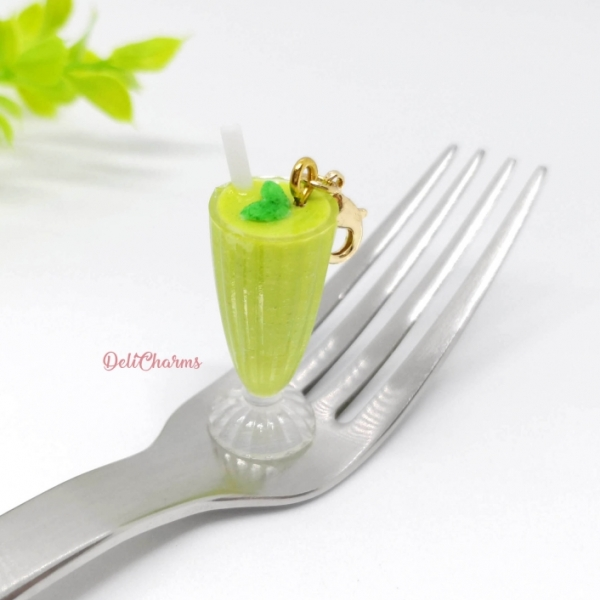 smoothie avocado milkshake charm uv resin accessory