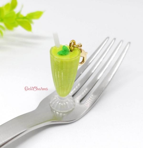 smoothie avocado milkshake charm uv resin accessory