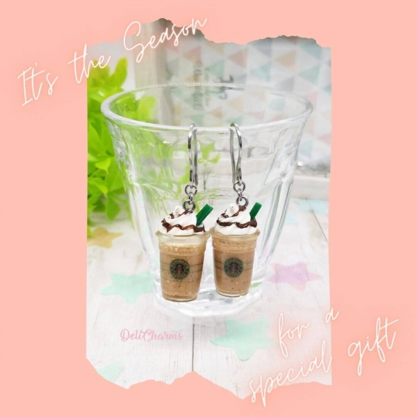 starbucks earrings miniature frapuccino starbucks jewelry delicharms