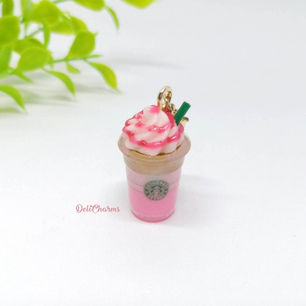 starbucks valentines pink frappuccino charm miniature starbucks charm strawberry coffee