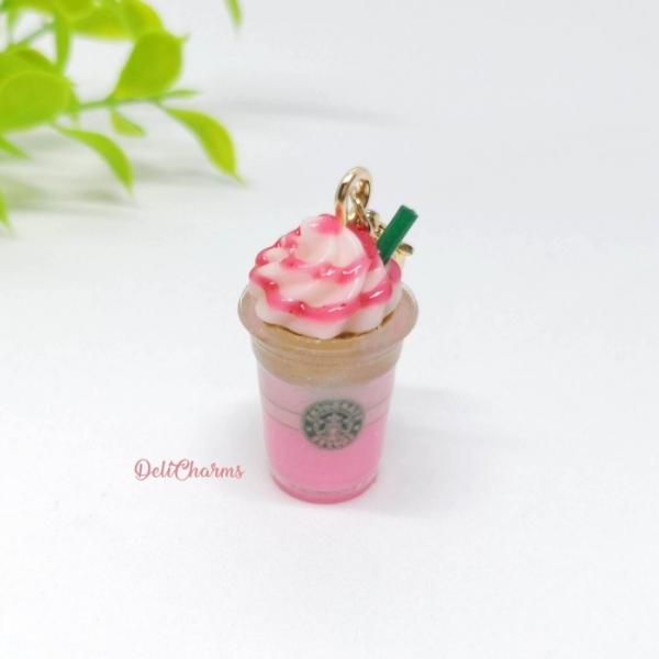 starbucks valentines pink frappuccino charm miniature starbucks charm strawberry coffee