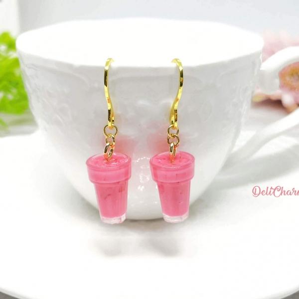 Bandung earrings miniature drink handmade charms rose syrup milk deli charms singapore