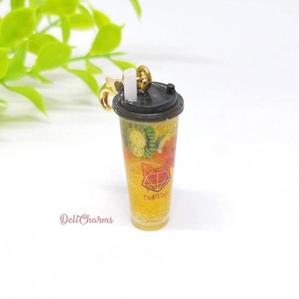 Fruit tea bag charm handmade charms uv resin accessory miniature drinks for dollhouse