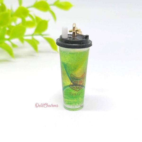 Fruit tea citrus fruits tea handmade charm resin bag charm cup keychain
