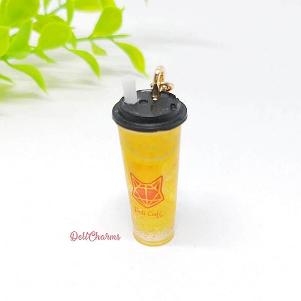 Fruit tea mini iced tea charm tea keychain drink bag charm handmade jewelry