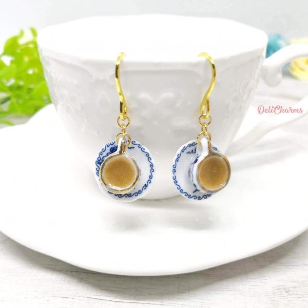 Traditional coffee tea kopi earrings handmade miniature food jewelry deli charms
