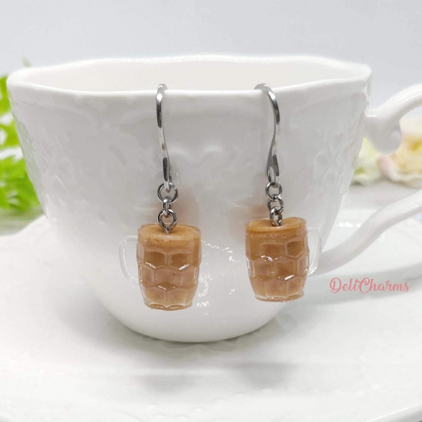 miniature coffee earrings handmade drinks food jewelry mini kopi
