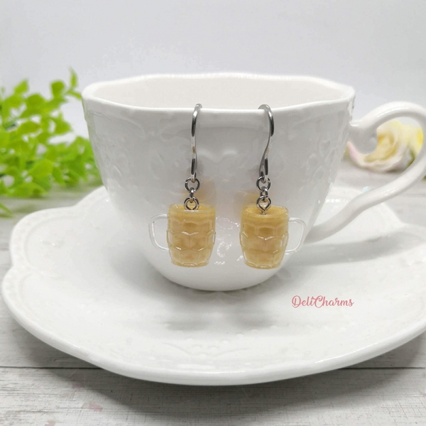 miniature hot tea silver earrings dollhouse miniature drink accessory handmade resin charm