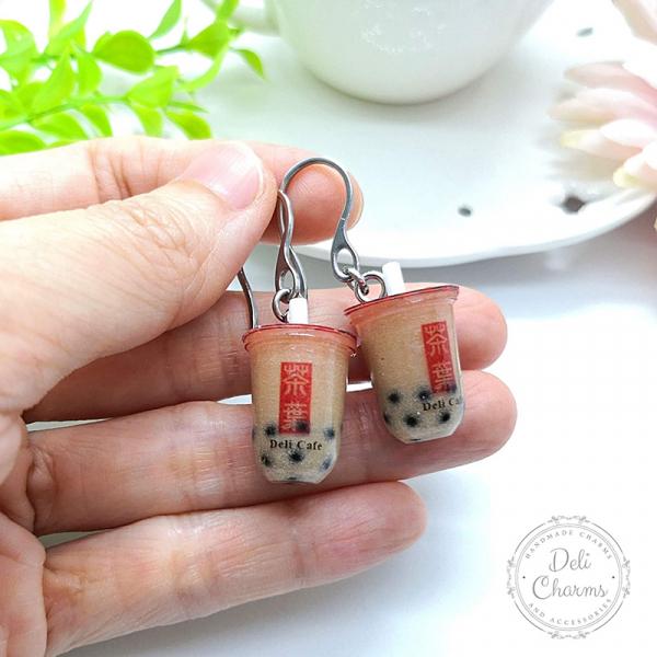 miniature pearl milk tea earrings